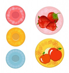 plates with fruits vector image