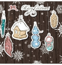 Poster with vintage Christmas decorations vector image vector image