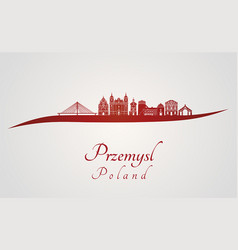 Przemysl skyline in red vector