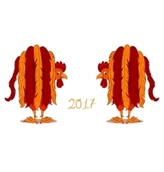 Red Rooster symbol of 2017 on the Chinese vector image vector image