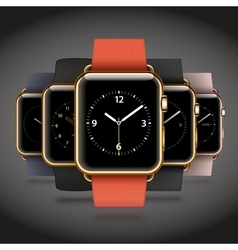 Set of 5 edition modern shiny golden smart watches vector