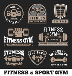 Set of fitness gym and sport club logo emblem vector image vector image