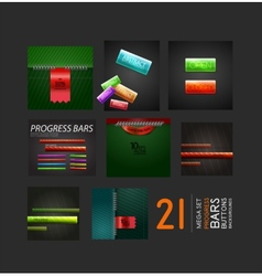 Set of progress bars buttons and backgrounds vector