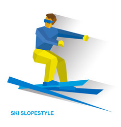 ski slopestyle freestyle skier jumps an obstacle vector image
