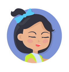 Speaking girl with black hair and blue bow on head vector