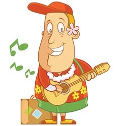 Tourist hawaii ukulele vector