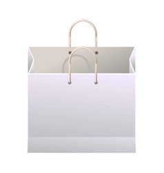 white paper shopping bag with thin handles vector image