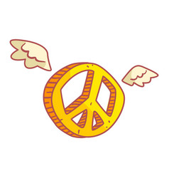 Yellow peace sign with wings colorful cartoon vector