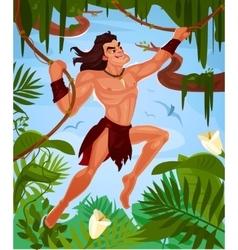 Tarzan swinging on vines vector