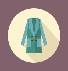 Flat women double-breasted coat icon vector