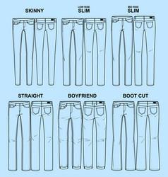 Main fits of women denim line vector