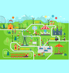 Amusement park map infographic elements in flat vector