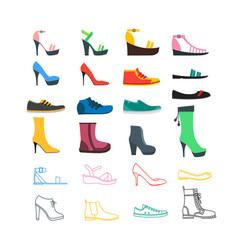 color woman shoes set vector image