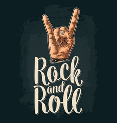 rock and roll sign black vintage engraved vector image
