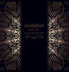 Invitation in dark blue with gold vector