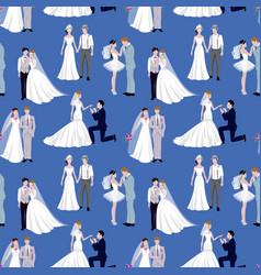 Wedding ceremony groom and bride couple people vector