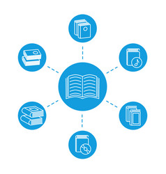 Reading concept - book line icons vector