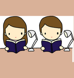 Reading boy and girl vector