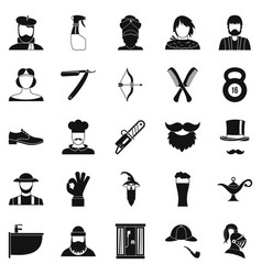 Haircuts icons set simple style vector