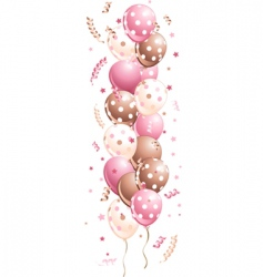 pink holiday balloons in line vector image
