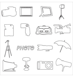 Photographic and camera simple outline icons eps10 vector