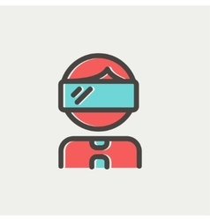 Young boy with vr headset thin line icon vector