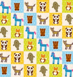Set of funny animals panda bear wolf fox fur seal vector