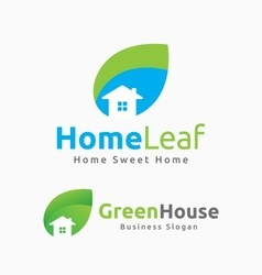 Abstract house and leaf logo template design vector