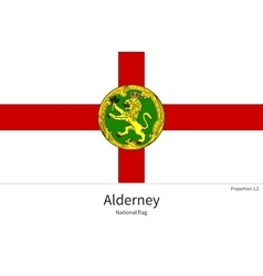 National flag of alderney with correct proportions vector