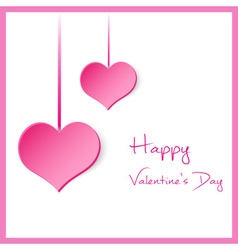 happy valentine with hanging pink hearts eps10 vector image