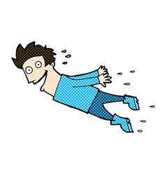 Comic cartoon drenched man flying vector
