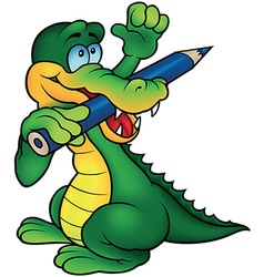 Crocodile painter vector