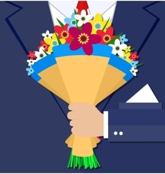 Cartoon businessman hand holding bouquet flowers vector