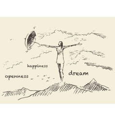 Drawn openness happiness concept sketch vector