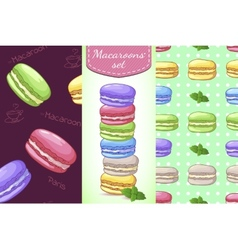 Beautiful set with French dessert macaroons Two vector image vector image