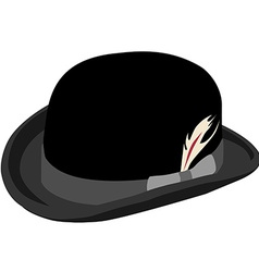 Black bowler hat with feather vector image vector image