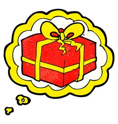 Cartoon christmas present with thought bubble vector