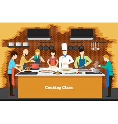 Cooking class in kitchen vector image