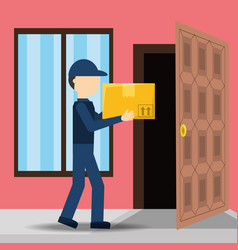 Courier delivery with box package service vector