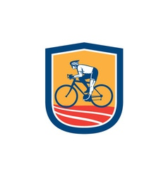Cyclist Riding Bicycle Cycling Side View Retro vector image vector image