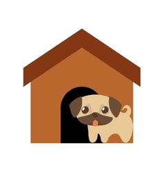 Dog cute tongue out brown house vector