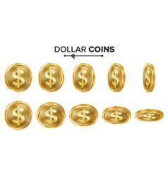 dollar 3d gold coins set realistic vector image vector image