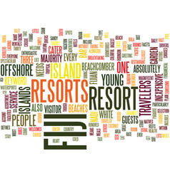 Fiji resorts text background word cloud concept vector