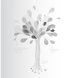 Grey shades tree created from lines and leafs vector