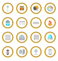 Heating cooling icons circle vector