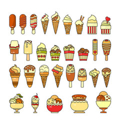 ice cream icon set of cute various desserts icons vector image