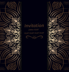 invitation in dark blue with gold vector image vector image