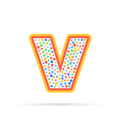letter v with group of dots icon sign vector image