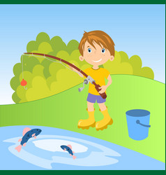 little boy fishing vector image
