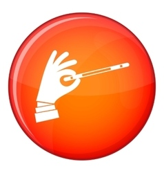 Magician hand with a magic wand icon flat style vector